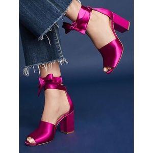 Sam Edelman Odele Pink Satin Ankle Wrap Heels 8.5